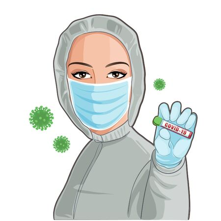 Young woman, nurse in protective suit and medical mask holding in hand a blood test for the Coronavirus 2019-nCoV, covid-19. Conceptual vector image, eps10