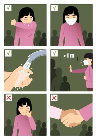 Set of images with a woman showing rules to prevent coronavirus spreading in the world: to sneeze in elbow, wear medical mask, wash hands, keep distance, don't touch face, no handshake. Conceptual image of health care against COVID-19. Vector image, eps10