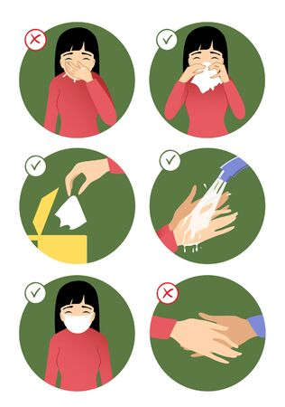 Set of images with a woman showing rules to prevent coronavirus spreading: don't sneeze in hand, use napkin, throw napkin in trash can, wear medical mask, wash hands, avoid social contact. Vector image, eps10