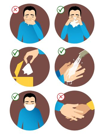 Set of images with a man showing rules to prevent coronavirus spreading: don't sneeze in hand, use napkin, throw napkin in trash can, wear medical mask, wash hands, avoid social contact. Vector image, eps10