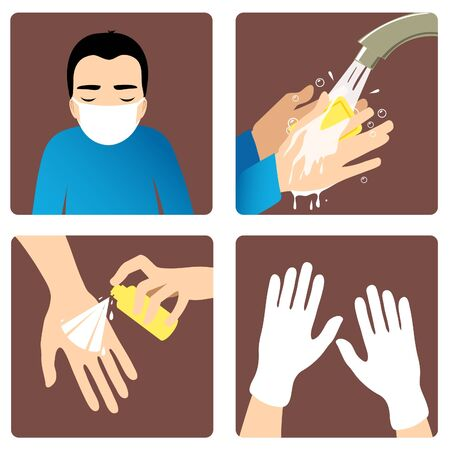 Set of images with a man showing rules to prevent coronavirus spreading: wear medical mask, wash hands, use antiseptic and gloves. Vector image, eps10 矢量图像