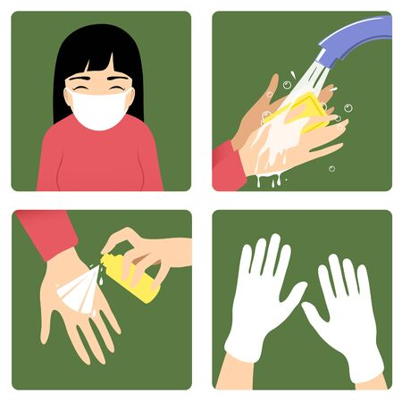 Set of images with a woman showing rules to prevent coronavirus spreading: wear medical mask, wash hands, use antiseptic and gloves. Vector image, eps10 矢量图像