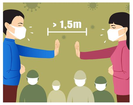 Ill cartoon man and woman in medical masks warn each other and people around to keep distance, conceptual image of epidemic prevention and coronavirus spreading, vector image eps10