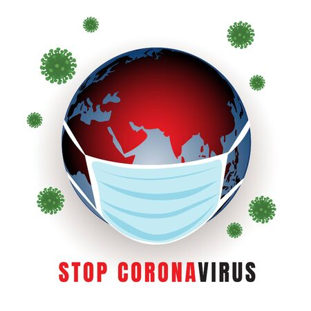 Globe with medical mask, conceptual illustration of coronavirus spreading in the world, vector image 矢量图像