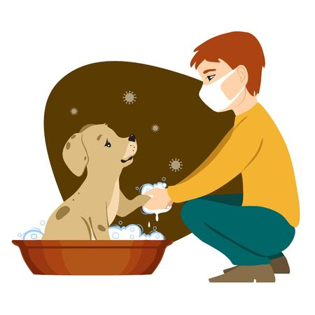 Boy with medical mask washes dog in wash-basin to prevent coronavirus spreading. Vector image 矢量图像