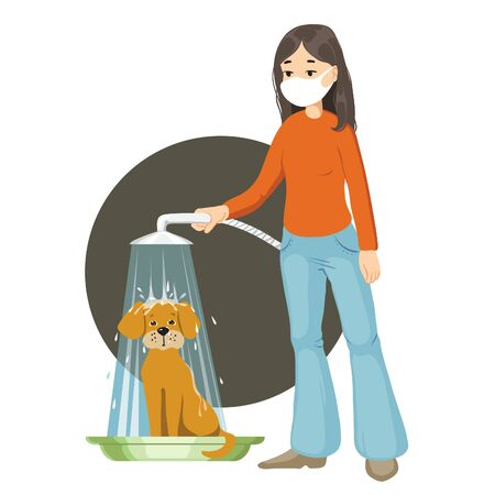 Girl in medical mask washes dog in the shower to prevent coronavirus spreading. Vector image