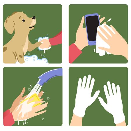 Set of images with a woman showing rules to prevent coronavirus spreading: wash pet, hands, clean personal gadget, use gloves. Vector image