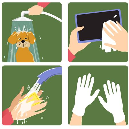 Set of images with a woman showing rules to prevent coronavirus spreading: wash pet, hands, clean personal gadget, use gloves. 矢量图像
