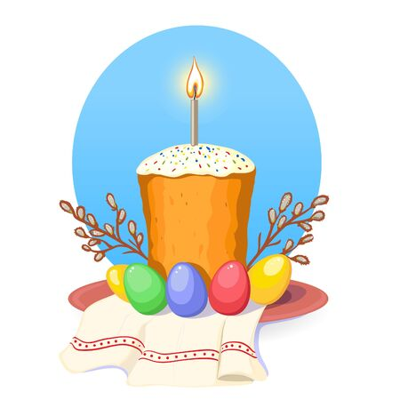 Illustration with Ukrainian Easter Cake with candle and colorful eggs on the background with pussy-willow and traditional national towel ruschnik, vector image 矢量图像