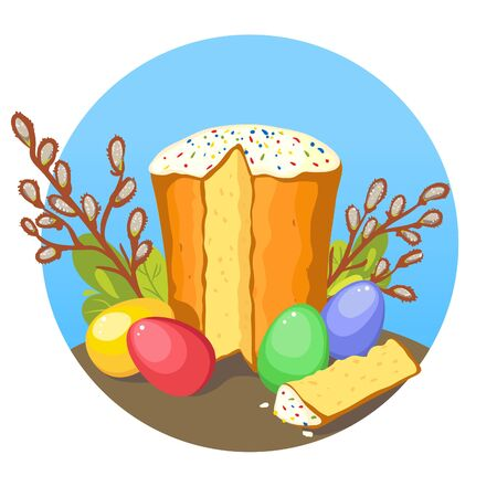 Illustration with Ukrainian Easter Cake and colorful eggs on the background with pussy-willow and green plants, vector image