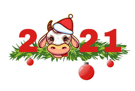 New Year Greeting banner with ox, symbol of 2021 year, vector image