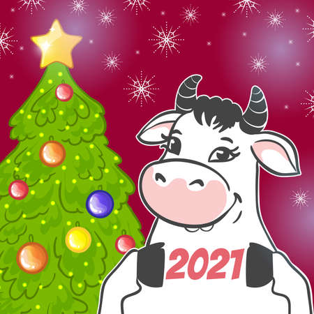 New Year Greeting card with bull, symbol of 2021 year, vector image 矢量图像