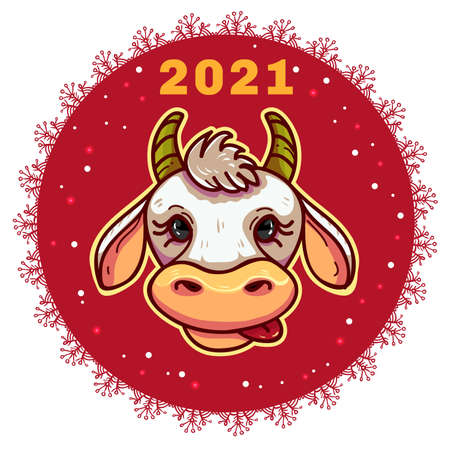 New Year Greeting snowflake with ox, symbol of 2021 year, vector image