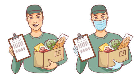 Courier with and without mask carries box with food, delivery service, vector illustration