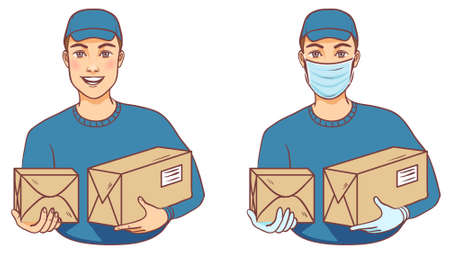 Courier with and without mask carries boxes, delivery service, vector illustration