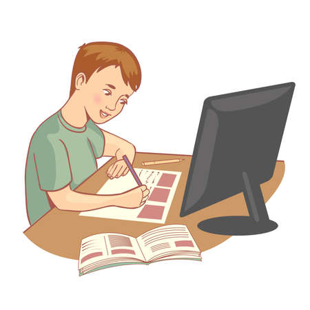 Schoolboy doing his homework during online lesson at home, social distance during quarantine, self-isolation, online education, vector image