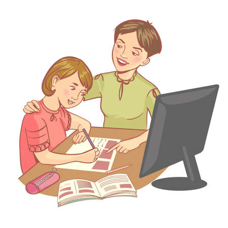 Schoolgirl doing her homework with her mother during online lesson at home, social distance during quarantine, self-isolation, online education, vector image 矢量图像