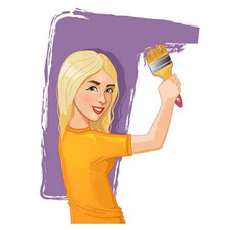 Vector image of a smiling girl painting the wall with brush