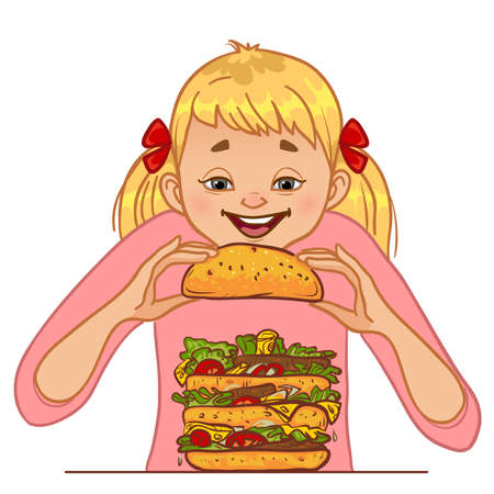 Cartoon girl eats big hamburger, concept vector illustration for no diet day