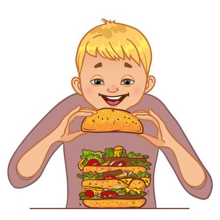 Cartoon boy eats big hamburger, concept vector illustration for no diet day