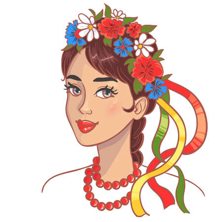 Girl in traditional Ukrainian clothes, vector image