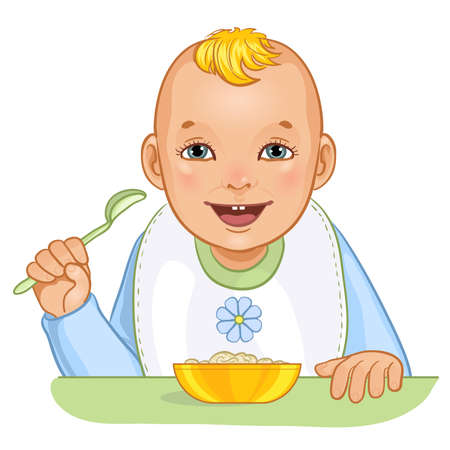 Baby boy with spoon and plate, vector image