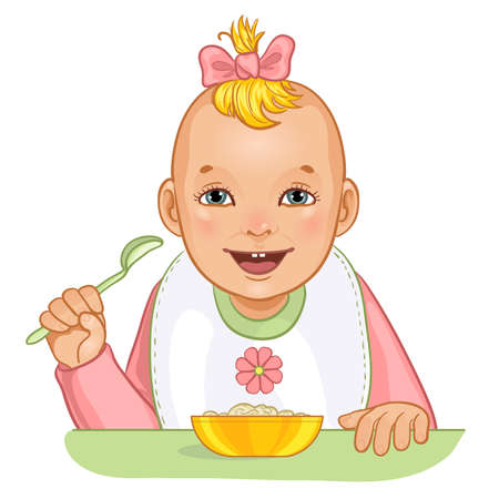 Baby girl with spoon and plate, vector image