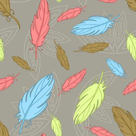 Seamless pattern with decorative feathers 矢量图像