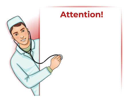 Nurse boy with stethoscope at placard, vector image.