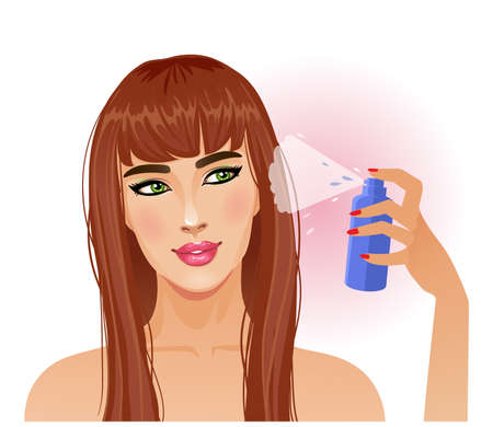 Cute young woman with hair spray, vector image