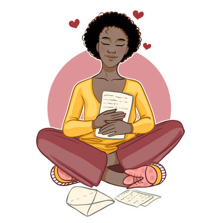 Cute cartoon African American girl sits on the floor and reads pleasant letter, vector image 矢量图像