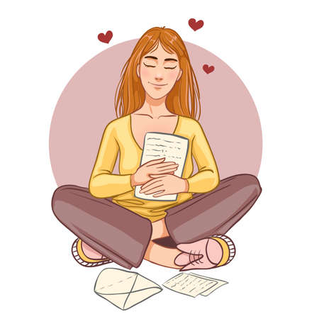 Cute cartoon girl sits on the floor and reads pleasant letter, vector image