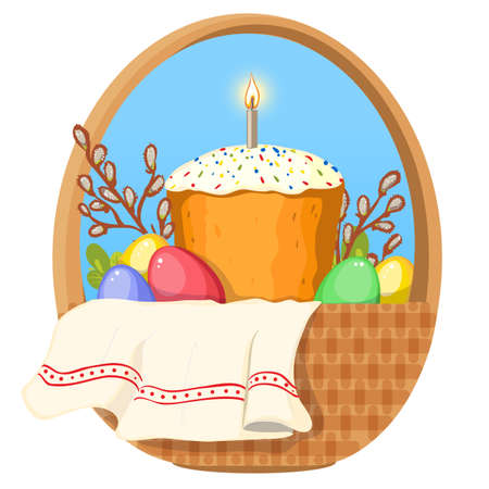 Illustration with Ukrainian Easter Cake and colorful eggs in basket with pussy-willow and green plants, vector image, eps10
