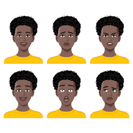 Set of emotions on cartoon African American boy face. Facial expression of joy, fear, surprise, anger, sadness, doubt. Vector image