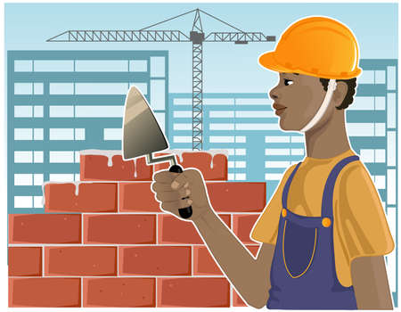 African American builder with trowel on the background with buildings, vector image
