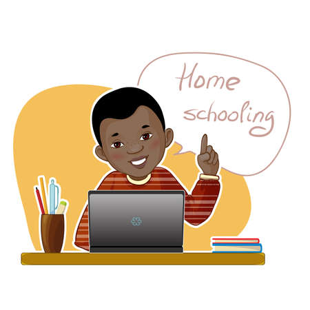 Happy African American boy during his home education sitting at the desk with laptop, vector image, eps10