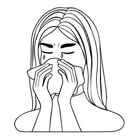 Young woman is tearing in the handkerchief, vector image, outline for coloring