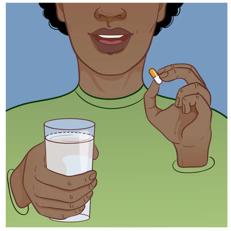 Ill African American man takes medicine, in one hand he has a pill, in another glass with water, vector image, eps10