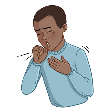 Sick cartoon African American man coughing over his hand, vector image