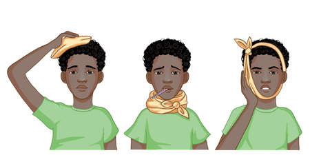 Set of images with a little African American boy complaining about headache, sore throat and inflammation of ear. Each image shows possible symptoms of a cold. Vector image 矢量图像