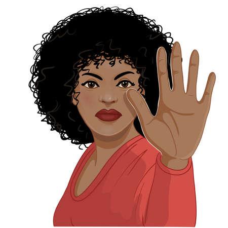 African American woman making stop gesture, vector image