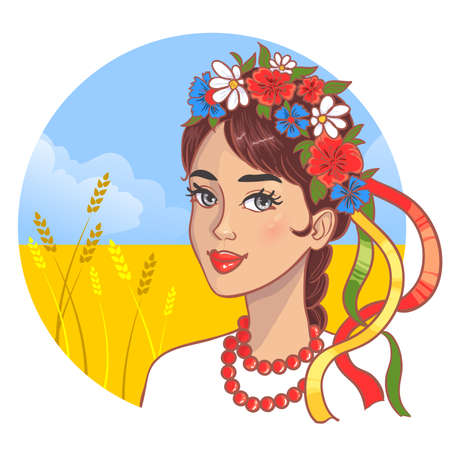 Girl in traditional Ukrainian clothes on the background with wheat field, eps10, vector image