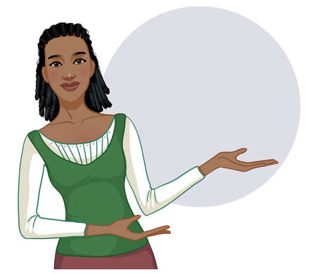Young African American woman posing for presentation on a blank background with round area for text, vector image 矢量图像