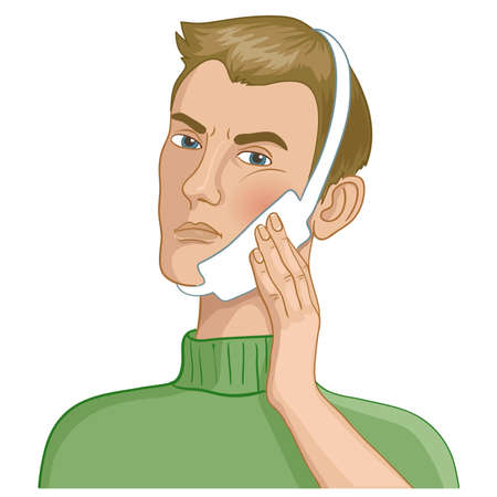 Cartoon man having a teeth pain and touching a swollen cheek, vector image