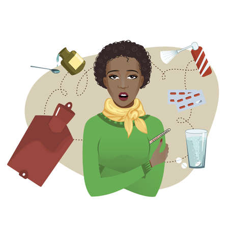 Ill young African American woman complaints about cold, vector image 矢量图像