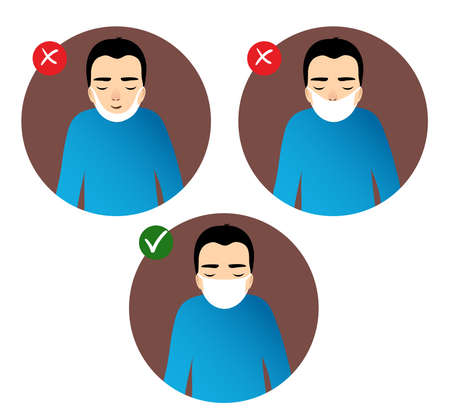 Set of images with a man showing rules to prevent coronavirus spreading in the world: how to wear medical mask. Conceptual image of health care against COVID-19. Vector image, eps10 矢量图像