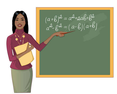 African American young teacher at blackboard, vector image
