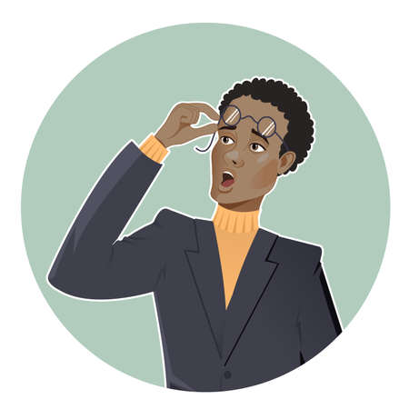 Cartoon shocked African American businessman in glasses on light green blue round background, vector image