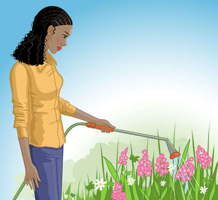Young African American woman watering flowers with the garden hose, vector image