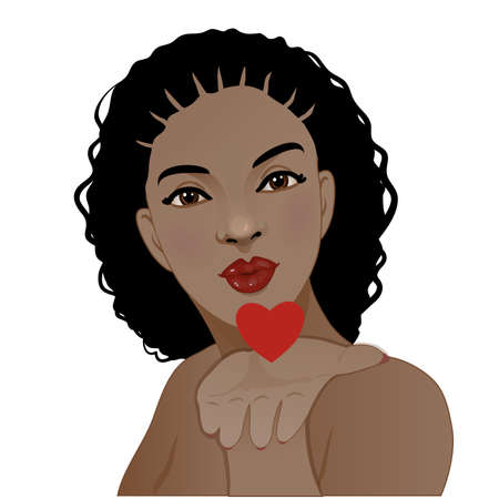 Young African American woman blows kisses, vector image